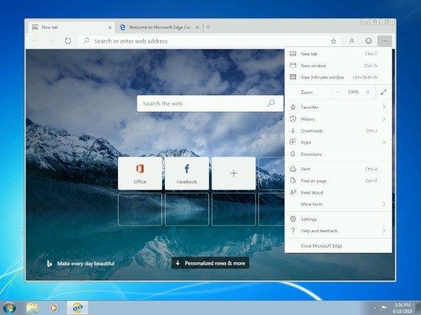 Nuovo Edge disponibile per Windows 7, 8 e 8.1