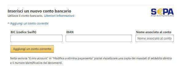 Amazon, si paga con il conto corrente bancario