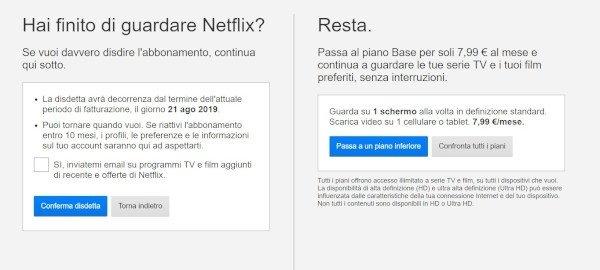 Disdire Netflix