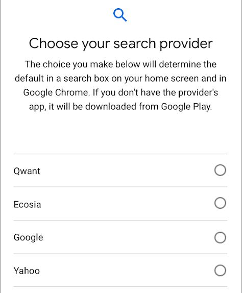 Android Choice Screen