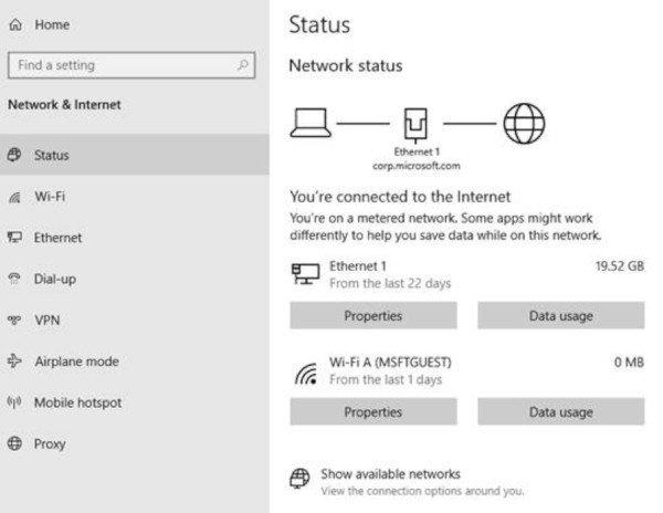 Windows 10, nuove impostazioni di rete