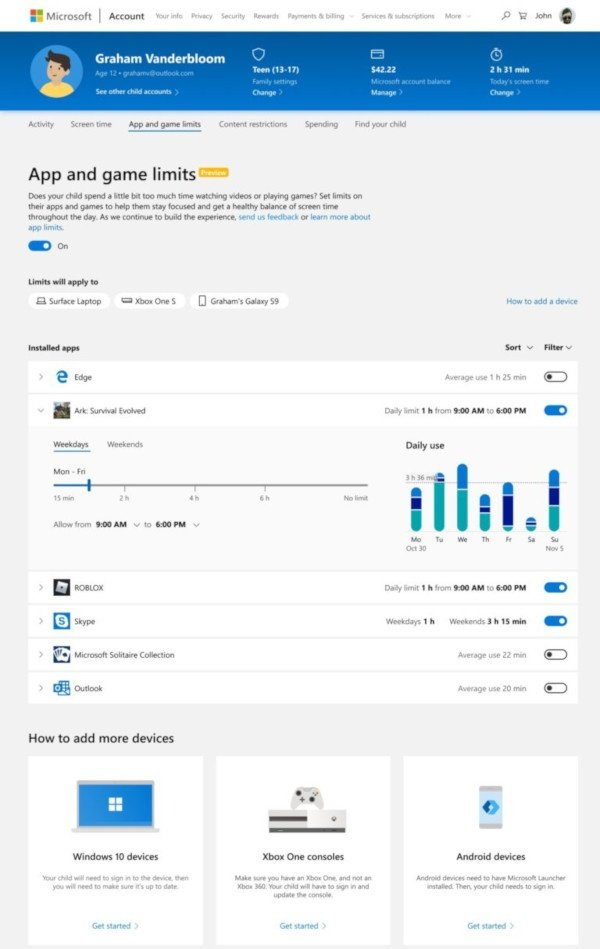 Microsoft: limiti temporali per app e giochi
