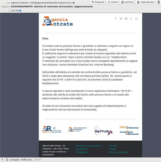 Falsa email Agenzia delle entrate