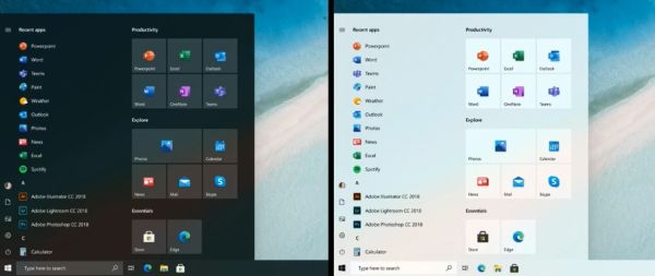 Nuovo menu Start Windows 10