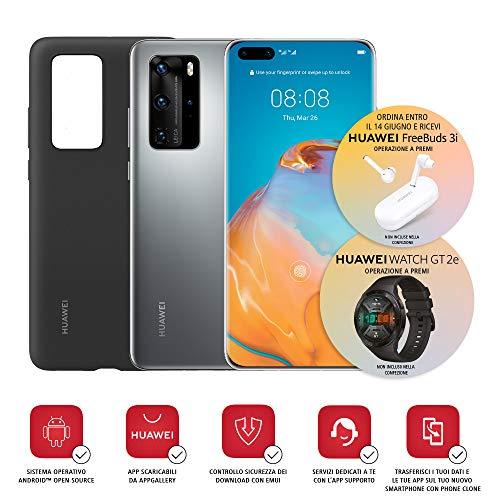 Huawei P40 Pro con Cover (Argento)