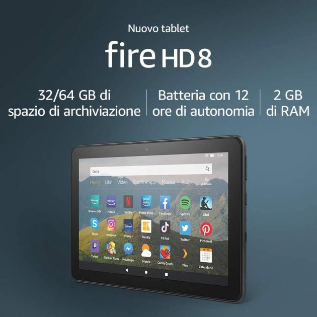 """Nuovo tablet Fire HD 8   Schermo HD da 8"""", 32 GB (Nero) - con offerte speciali"""
