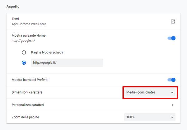 Come modificare la dimensione dei caratteri in Google Chrome