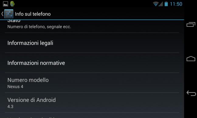 Android 4.3 Jelly Bean, informazioni sul sistema