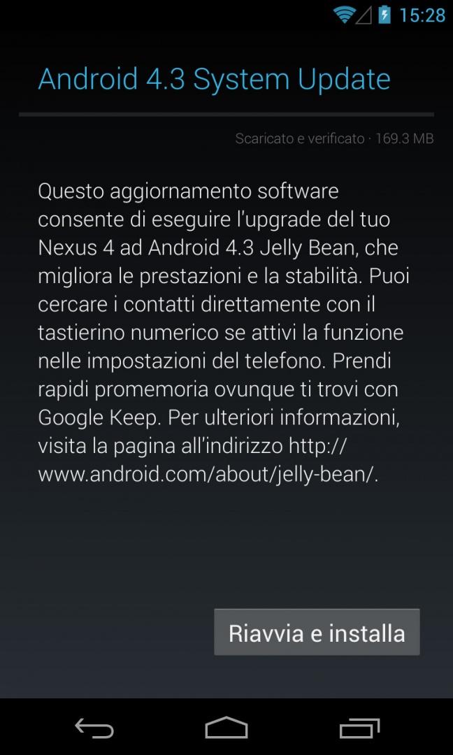 Android 4.3 Jelly Bean, notifica aggiornamento