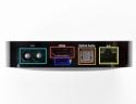 Il retro: porta HDMI, uscita ottica audio, 10/100 Base Ethernet AC adapter, Micro-USB