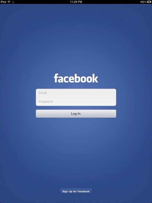 Applicazione Facebook per iPad