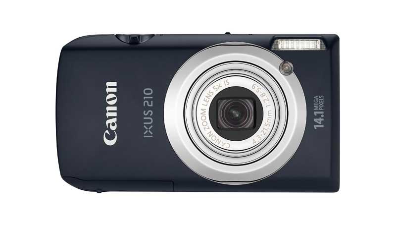 Canon IXUS 210 vista frontale colore nero