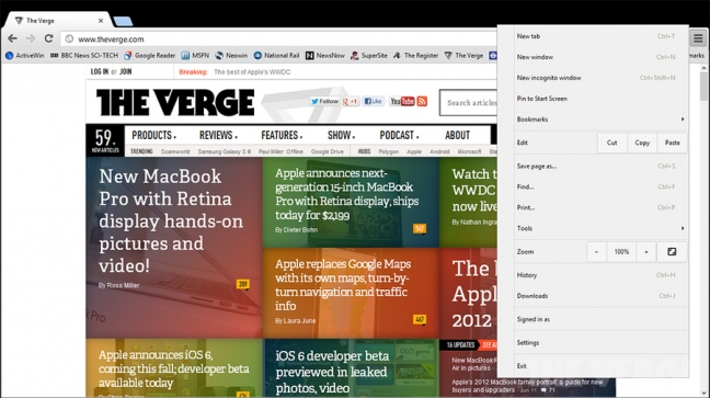 Chrome Metro su Windows 8 (The Verge)