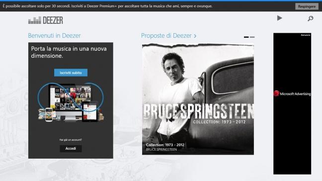 Deezer, app Windows 8