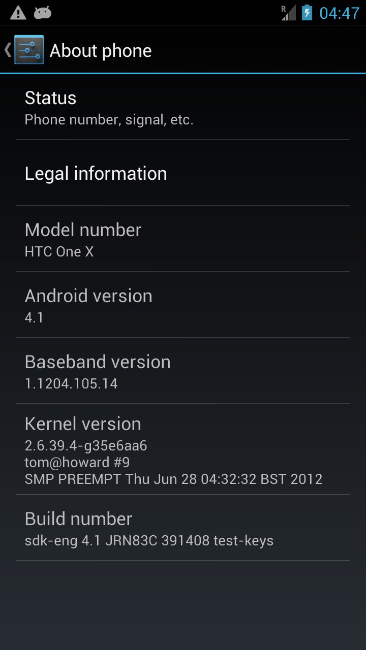 HTC One X, ROM Android 4.1 Jelly Bean