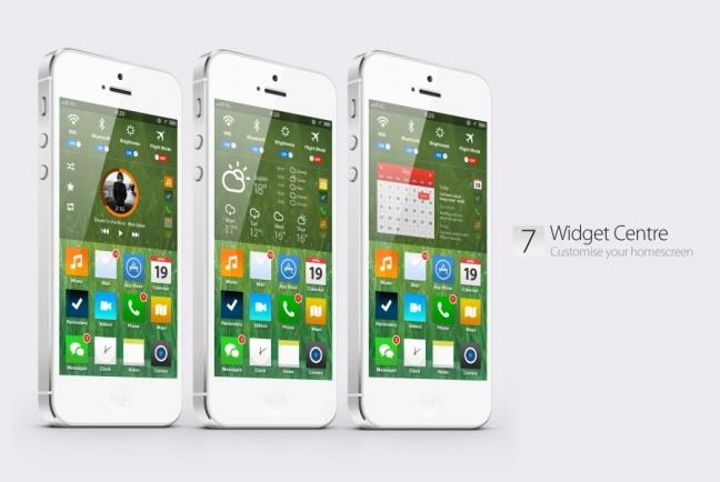 iOS 7 concept, homescreen