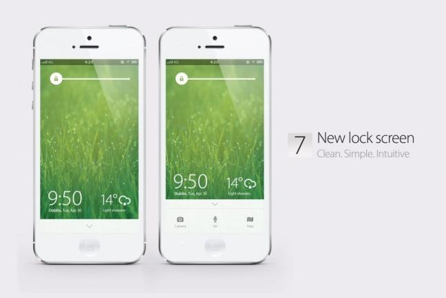 iOS 7 concept, lockscreen