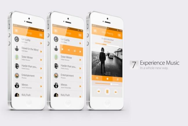 iOS 7 concept, musica