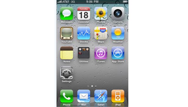iPhone OS 4 beta 4 - Home Screen