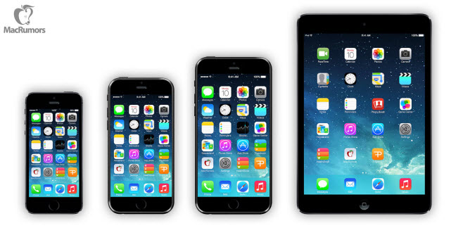 Confronto iPhone 5S, iPhone 6 4,7, iPhone 6 5,5, iPad Air