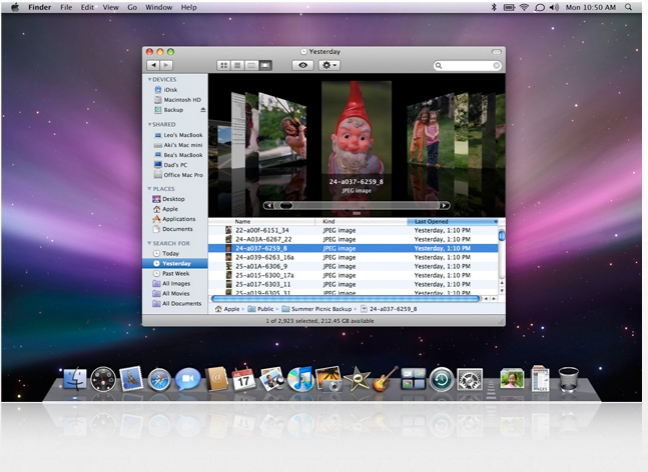 Slide Show, ricerca Ieri su Max OS Leopard