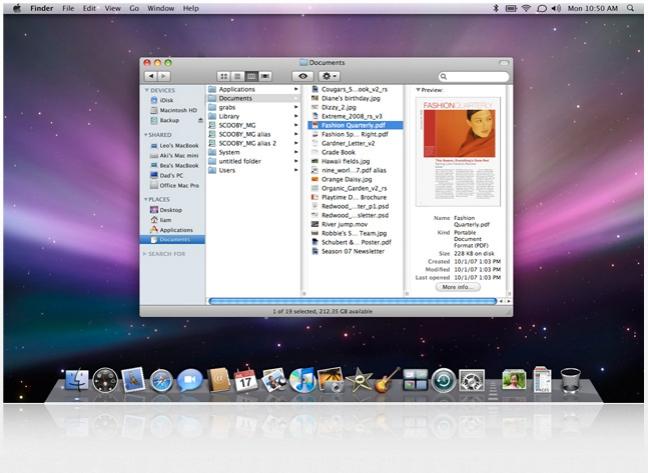 Finder Mac OS con dettagli e anteprima