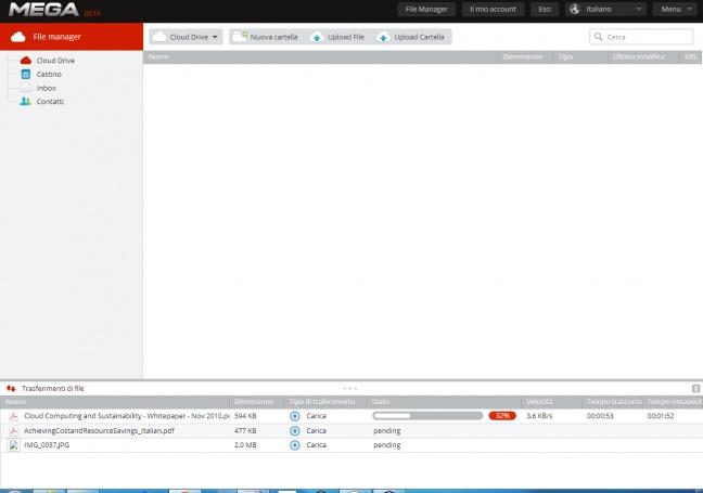 L'interfaccia di Mega con file in upload
