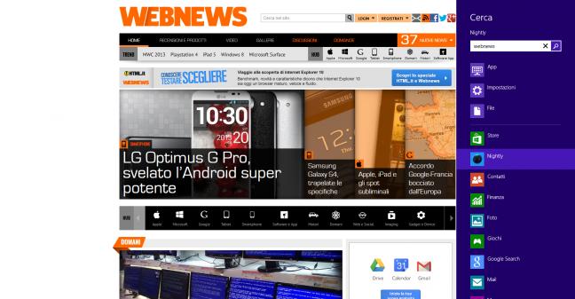 Metro Firefox (nightly build)