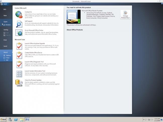 Screenshot di Office About