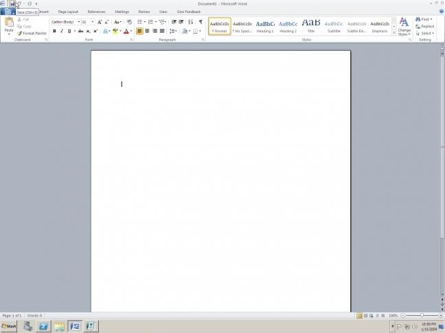 Screenshot di Word