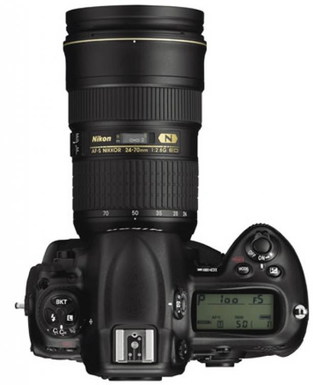 Nikon 3dx, laterale, lunghezza obiettivo