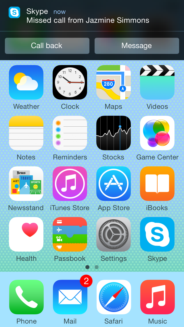 Notifiche Skype 5.5 su iOS 8