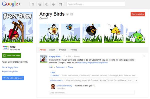 Pagina Google+ Angry Birds