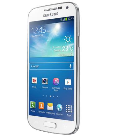 Samsung Galaxy S4 Mini bianco, visto da destra
