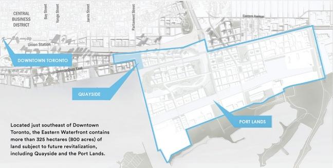 Sidewalk Labs, Toronto: la mappa dell'area