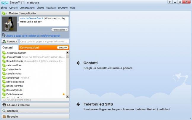 Skype 4.0 Schermata principale