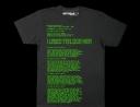 Maglietta scritta verde su sfondo nero