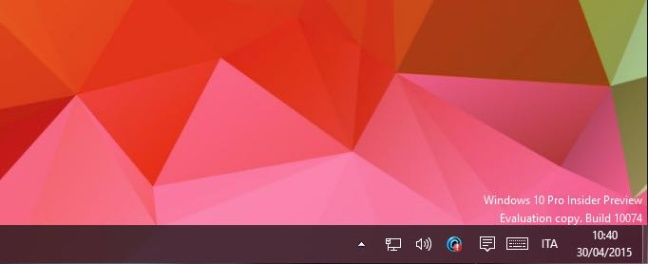 Windows 10 Insider Preview, build 10074
