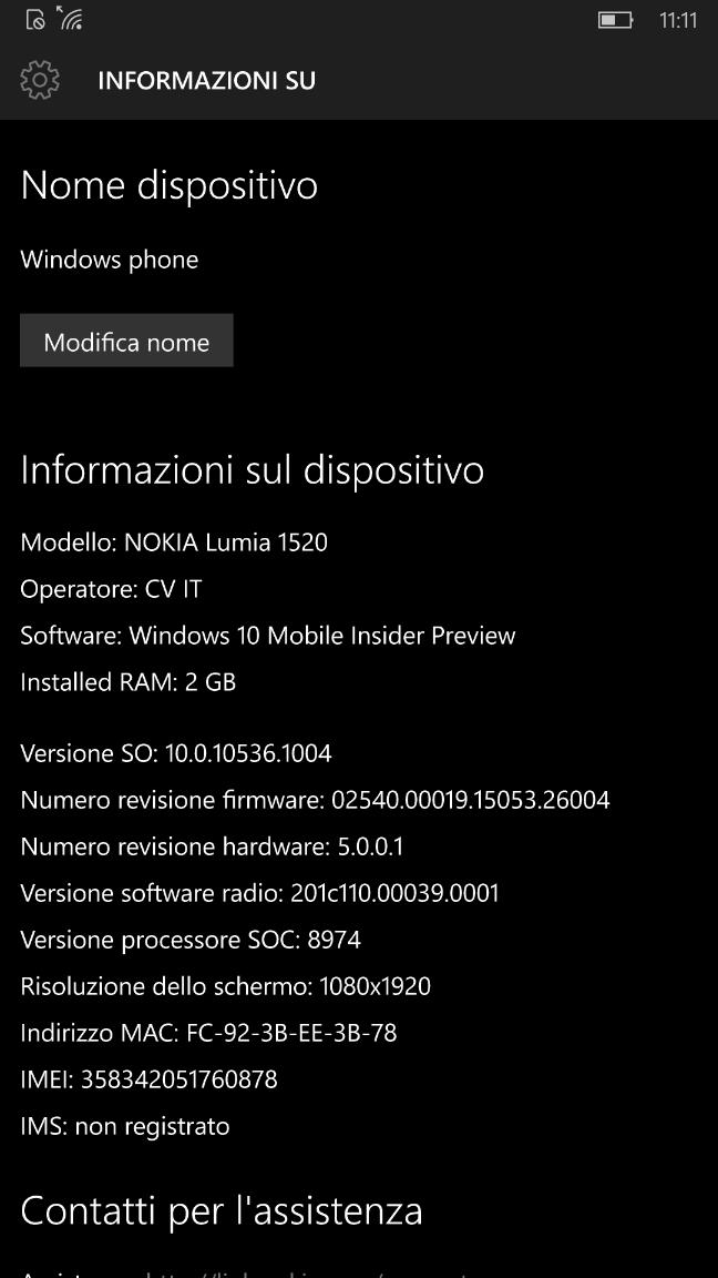 Windows 10 Mobile build 10536