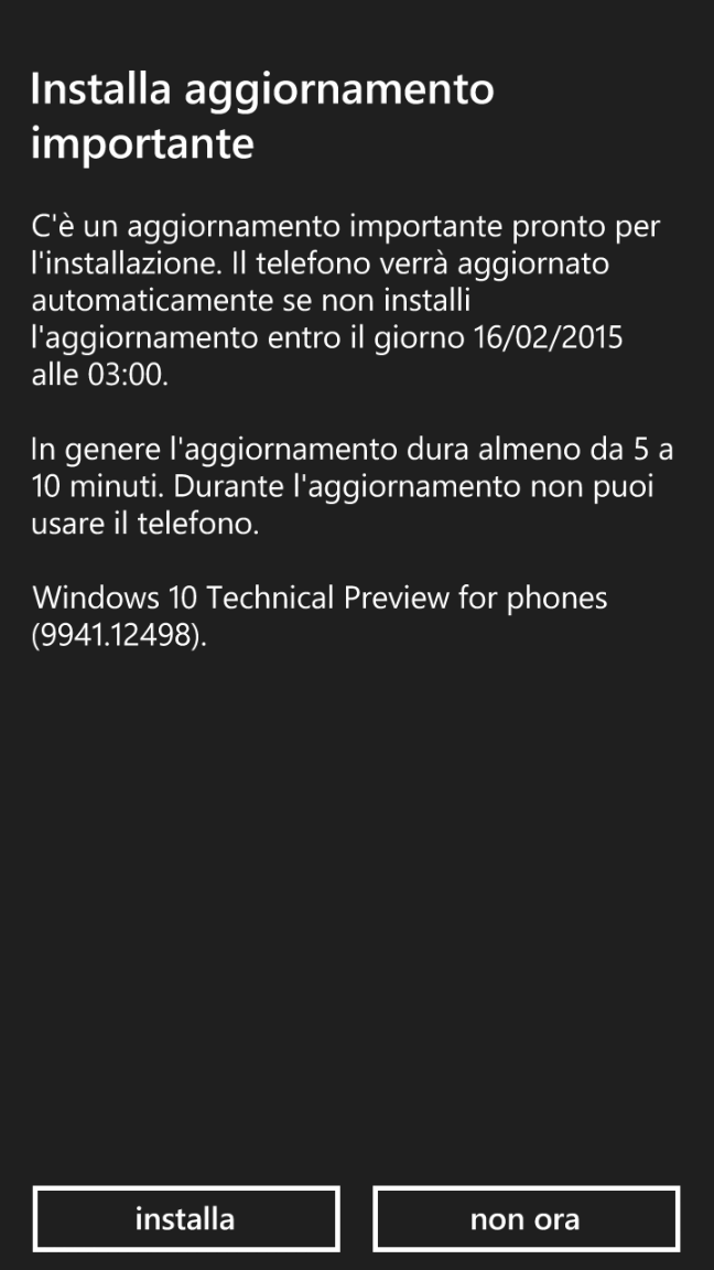 Windows 10 per smartphone - Technical Preview