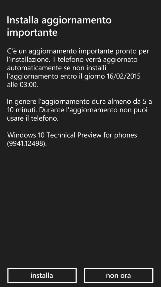 Windows 10 per smartphone - Technical Preview
