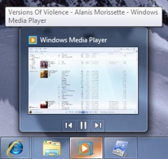 Anteprima con controlli integrati di Windows Media Player