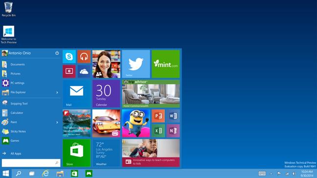 Windows 10: menu start