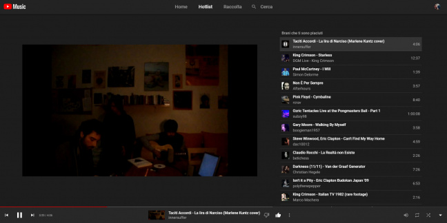 YouTube Music: l'interfaccia del player desktop