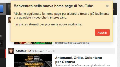 YouTube, nuovo layout