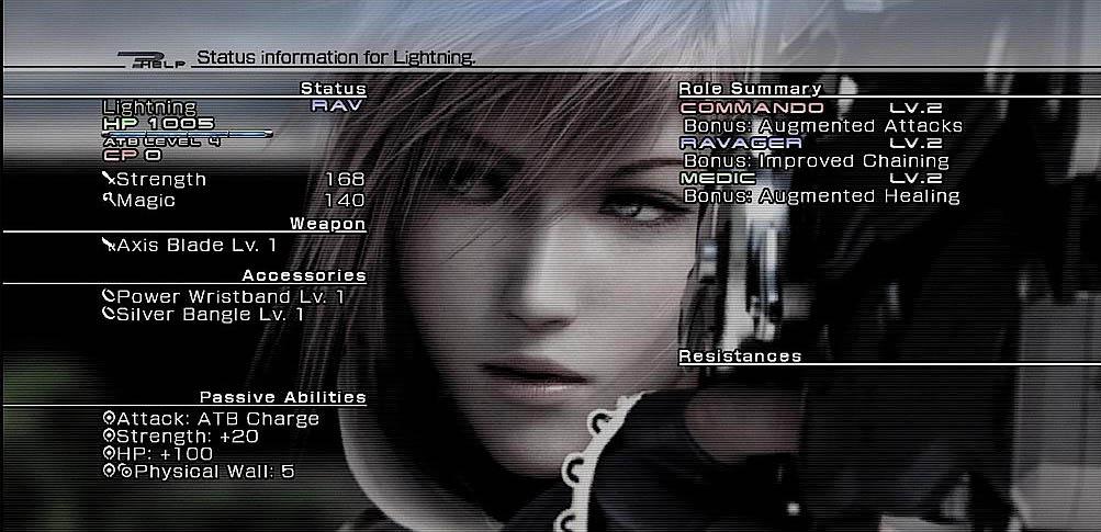 Final Fantasy XIII - Informazioni di status