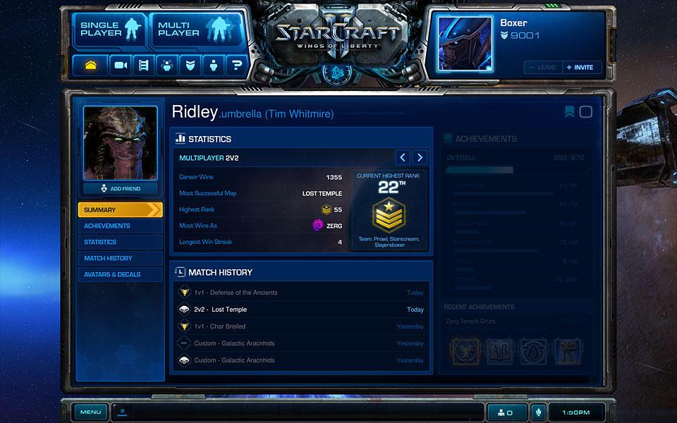 StarCraft II - Personalizzazione gioco e personaggi