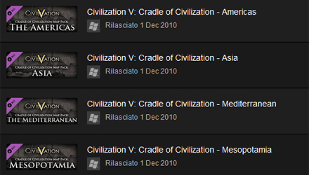 Civilization V: disponibili i map pack del preorder singolarmente su Steam