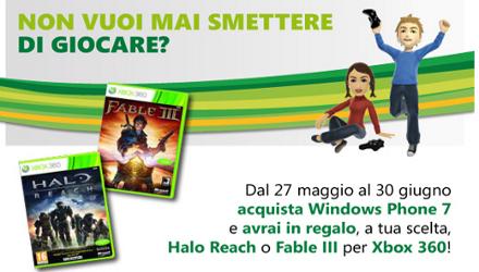 Fable III o Halo: Reach in regalo per chi acquista Windows Phone 7
