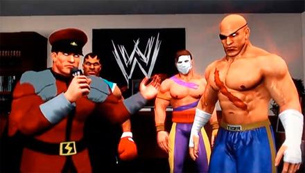 Il cast di Street Fighter sul ring di WWE Smackdown vs. Raw 2011